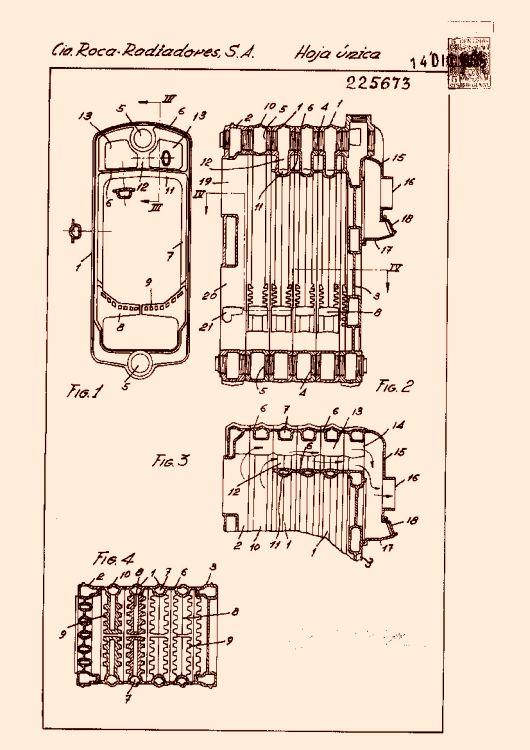 Compa ia roca radiadores s a 257 patentes modelos y o for Radiadores roca modelos