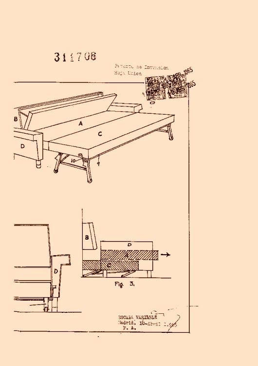 Mecanismo automatico para la convertibilidad de un sofa en for Mecanismo cama abatible