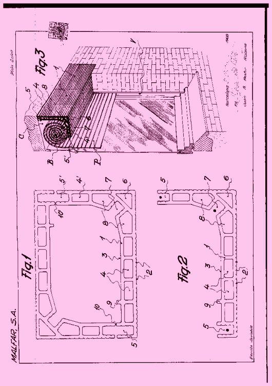 PIEZA CERAMICA PARA LA CONSTRUCCION DE CAJONES DESTINADOS A CONTENER EL ROMBO DE LAS PERSIANAS ARROLLABLES.