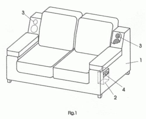 mueble de asiento tapizado con sistema de sonido incorporado