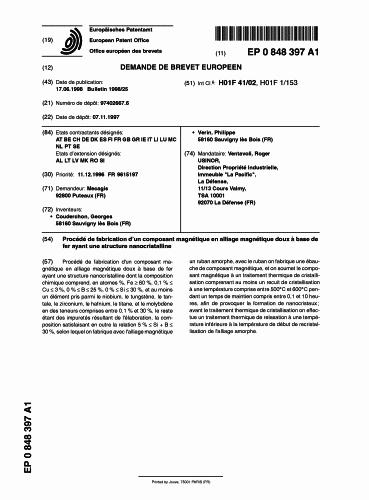 PROCEDIMIENTO DE FABRICACION DE UN COMPONENTE MAGNETICO DE ALEACION MAGNETICA DUCTIL A BASE DE HIERRO QUE TIENE UNA ESTRUCTURA MANOCRISTALINA.
