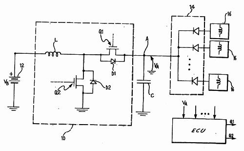 CIRCUITO REGULADOR DE TENSION PARA LA ACTIVACION ELECTROMAGNETICA DE LAS VALVULAS DE UN MOTOR DE COMBUSTION INTERNA.