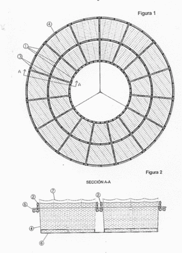 Complejo flotante circular sectorial doble de jaulas para for Jaulas flotantes para piscicultura