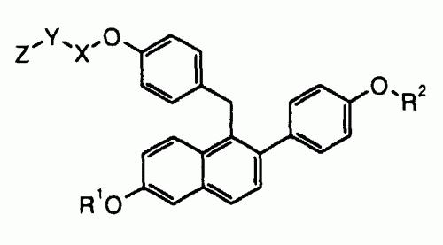 COMPUESTOS DE 1-(4-(ALCOXI SUSTITUIDO)BENCIL)NAFTALENO CON ACTIVIDAD INHIBIDORA DE ESTROGENOS.