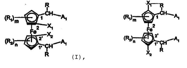 1,1'-DIFOSFINOFERROCENOS CON RESTOS QUIRALES O AQUIRALES ENLAZADOS EN LA POSICION 2,2'.