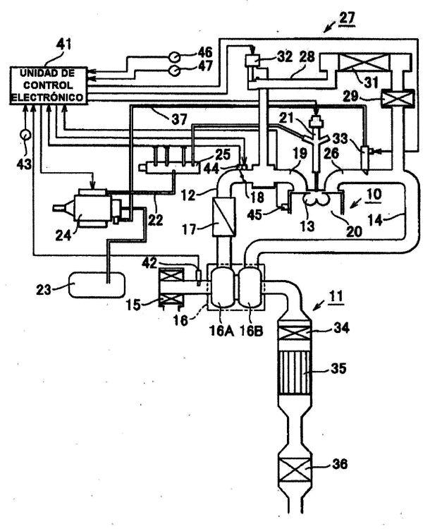 APARATO DE CONTROL DEL GAS DE ESCAPE PARA MOTOR DE COMBUSTION INTERNA Y METODO DE CONTROL DEL MISMO.