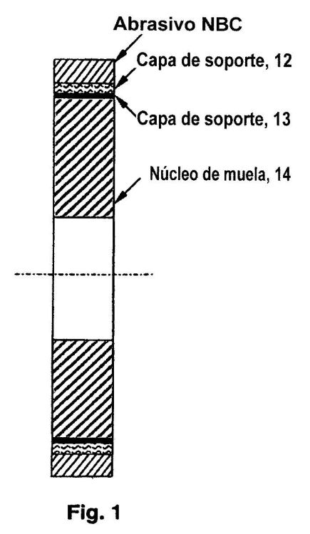 MUELA ABRASIVA PARA APLICACION DE RECTIFICADO DE RODILLOS Y PROCEDIMIENTO DE RECTIFICACION DE RODILLOS DE LA MISMA.