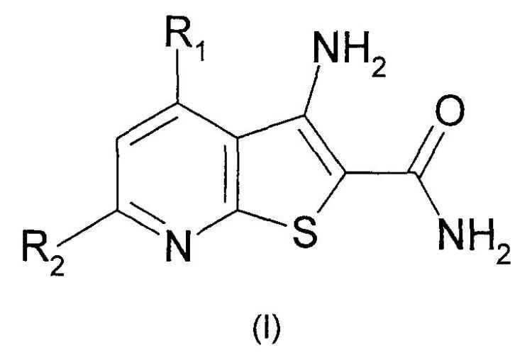 COMPUESTOS DE AMIDA DE ACIDO 3-AMINO-TIENO(2,3-B)PIRIDINA-2-CARBOXILICO Y PROCEDIMIENTO DE PREPARACION Y SUS USOS.