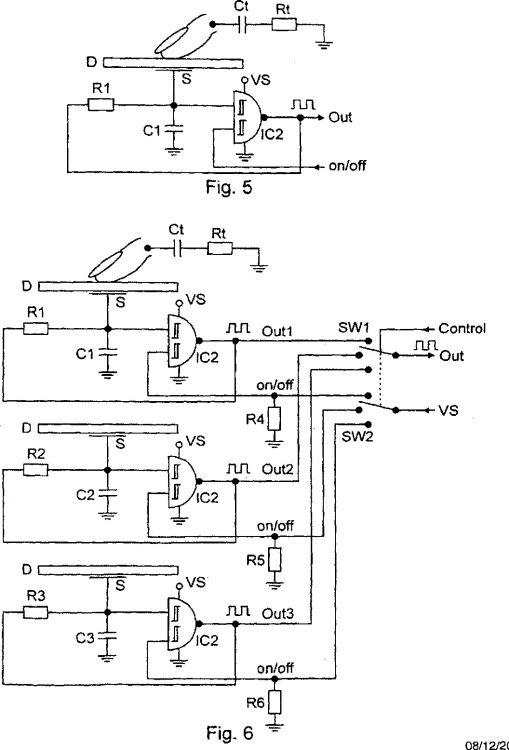 disposicion de circuito para varios conmutadores tactiles capacitivos
