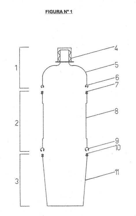 BOTELLA PLASTICA MANUFACTURADA EN TRES PARTES CON RECIPIENTE Y TAPA INCORPORADOS.