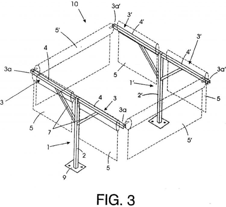 Estructura plegable para cerramiento con toldos verticales for Estructura de toldo