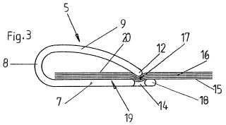 Carpeta de apriete con un borde de apriete rebajado más allá de un plano de apriete.