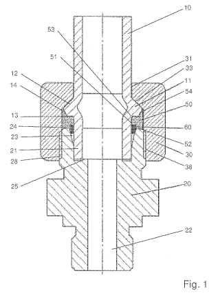 Disposición de conexión para una unión roscada de tubos.