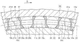 Cojinete de rodillos, estructura de soporte de árbol principal para generador accionado eólicamente, elemento intermedio y segmento de retención.