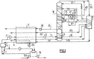 Procedimiento y aparato de producción de un fluido enriquecido en oxígeno por destilación criogénica.
