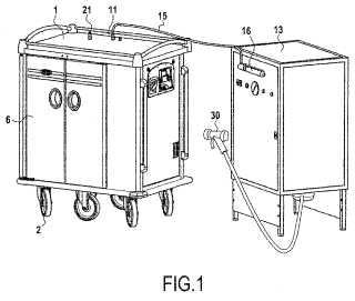 Carro autolimpiador de transporte de bandejas de comida.