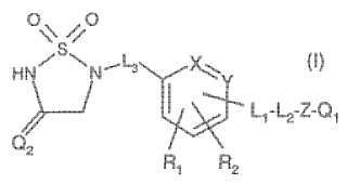 Derivados de 1,1-dioxo-1, 2,5-tiazolidina-3-ona sustituida como inhibidores de ptpasa 1B.
