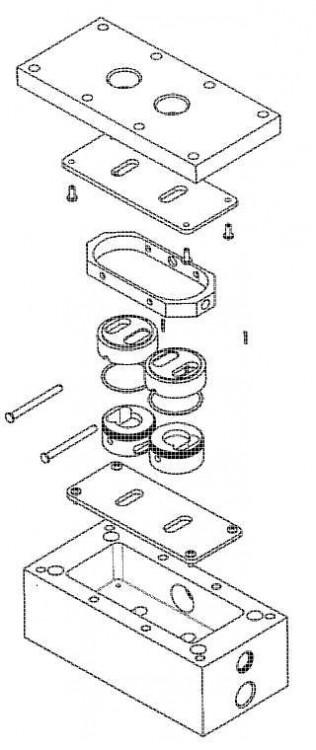 Bomba de pistón alternativo con válvula de aire, retén y cabezales móviles.