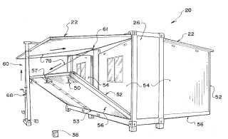 Alojamiento modular plegable para transporte en contenedor.