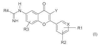 Derivados de 2-aril- y 2-heteroaril-4H-1-benzopiran-4-ona-6-amidino para el tratamiento de artritis, cáncer y dolor relacionado.