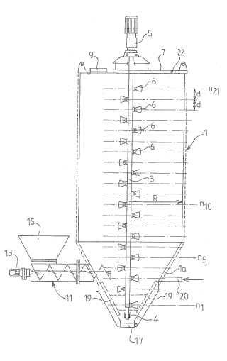 Dispositivo mezclador para desechos sólidos divididos.