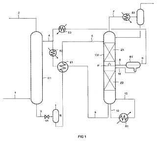 Procedimiento de desacidificación de un gas mediante solución absorbente con desmezcla durante la regeneración.
