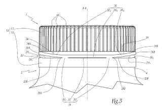 Tapón con línea de debilitamiento troquelada y procedimiento de fabricación de este tapón.