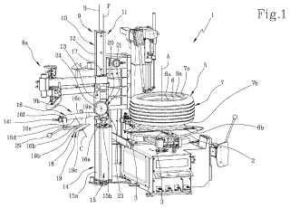 Dispositivo para levantar un costado inferior de un neumático en una máquina para desmontar neumáticos.