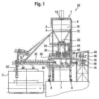 Dispositivo para cargar medios de transporte, en particular medios de transporte de gran capacidad, con productos a granel así como módulo de carga.
