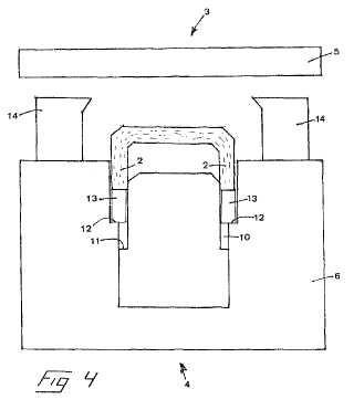 Prensa y método para formar una viga a partir de trozos de madera recubiertos de pegamento.