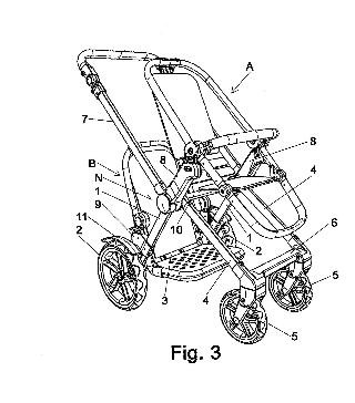 Chasis para cochecitos infantiles con dos plazas.