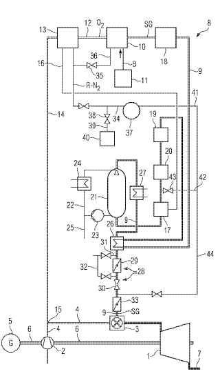 Instalación con turbina de gas y turbina de vapor, y el método correspondiente.