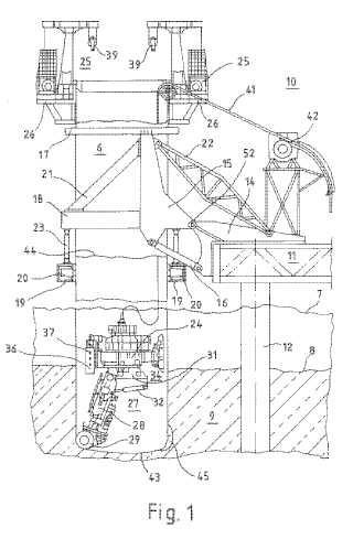 Procesamiento y dispositivo para la creación de un cimiento subacuático de una obra de construcción.