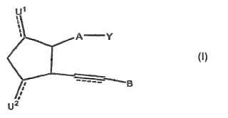 Ciclopentanos sustituidos terapéuticos para reducir la presión intraocular.