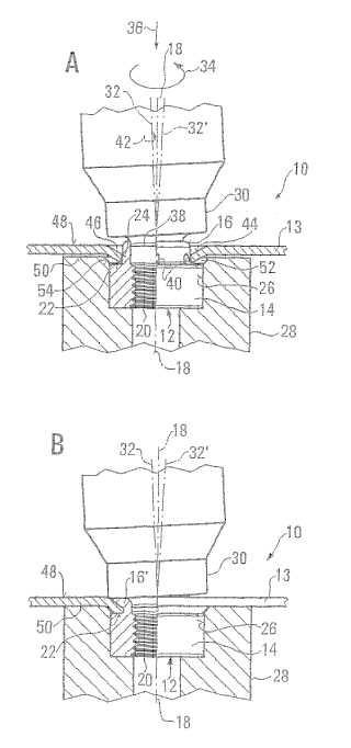 Procedimiento y dispositivo para implantar en un componente mecánico, en particular en una pieza de chapa, un elemento de fijación.