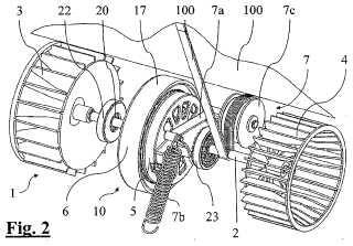Conjunto de motor y ventiladores para secadora de ropa por condensación y secadora de ropa por condensación que contiene dicho conjunto.