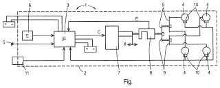 Sistema de freno controlado por un sensor de aceleración con un sensor de fuerza de frenado.