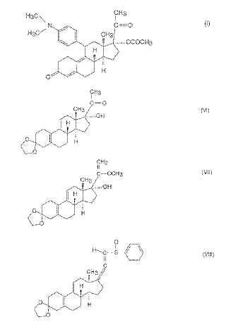 Procedimiento industrial de síntesis de 17-alfa-acetoxi-11-beta-[4-(N,N-dimetil-amino)-fenil]-19-norpregna-4,9-dien- 3,20-diona y nuevos intermedios del procedimiento.