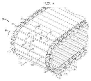 Cinta transportadora de superficie plana articulada con eslabón lateral.
