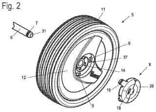 Elemento de fijación para fijar una rueda a un eje de rueda.