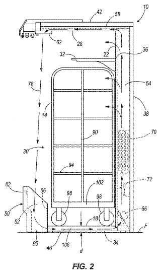 Expositor refrigerado abierto por delante que comprende un carrito con ruedas que puede entrar y salir.