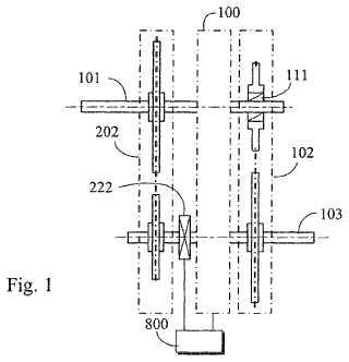 Dispositivo de transmisión variable de modo continuo con trenes de poleas de transmisión de alto y bajo desplazamiento.