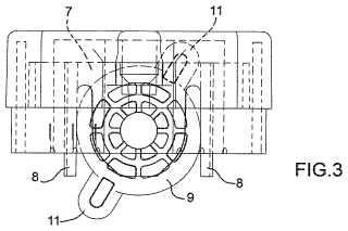 Dispositivo de conexión y trabado para fijar las varillas de dos bastidores distintos en una posición recíproca.