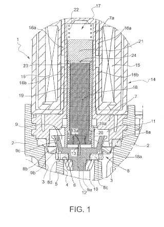 Dispositivo electromagnético de válvula.