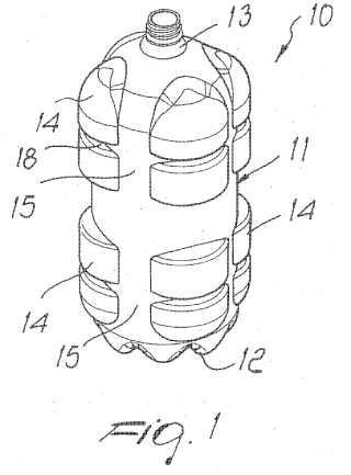 Botella de plástico particularmente para contener bebidas.