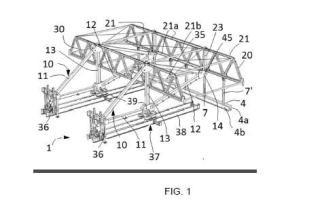 Estructura desplazable adaptada para soportar en voladizo un encofrado de un tramo nuevo de puente.