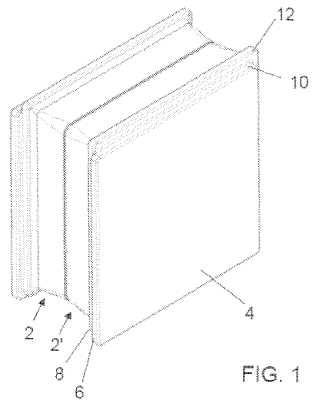 elemento de vidrio para formar paredes de ladrillo de vidrio y para formar paredes con dicho