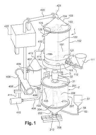 Dispositivo de procesado de biomasa húmeda por fritura.