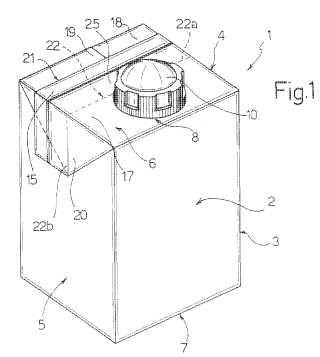Envase obturado para productos alimenticios vertibles, y método para su producción.