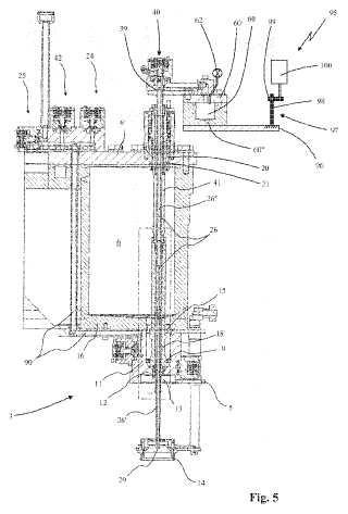 Máquina isobárica para llenar recipientes con líquidos.